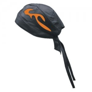 DBE Solid Genuine Leather Flame Skull Hat Black/Orange DBE32...