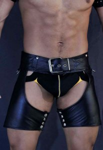 Kristen Bjorn Leather Chaps Shorts Black