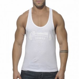 ES Collection Power Gym Low Rider Tank Top T Shirt White TS077