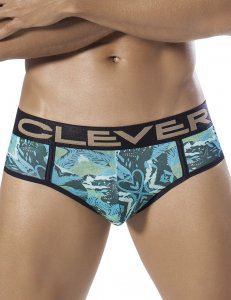 Clever Natural Snake Piping Brief Underwear Green 5258