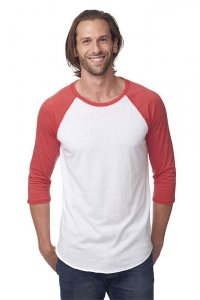 Royal Apparel Unisex Triblend Raglan Baseball Long Sleeved T Shirt Tri White/Tri Red 20060