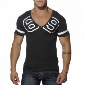 Addicted 69 V Neck Short Sleeved T Shirt Black AD199