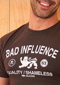 Ajaxx63 Bad Influence Athletic Fit Short Sleeved T Shirt AS71