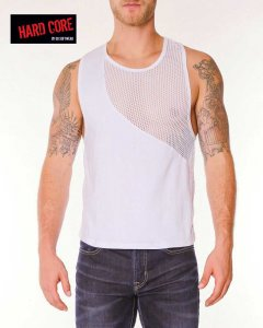 Go Softwear Chain Link Gladiator Muscle Top T Shirt White 4206