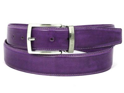 Paul Parkman Hand Painted Leather Belt Purple B01-PURP