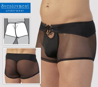 Svenjoyment Net & Lace Contour Rear Boxer Brief Underwear Black 2130831
