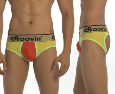 Groovin Bold Line Sports Jock Brief Jock Strap Underwear Yellow/Red/Green JK0293
