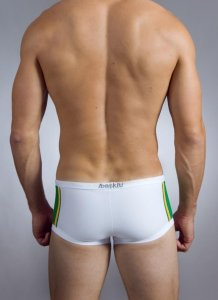 Baskit Lucky 11s Block Square Cut Trunk Swimwear White WL115...