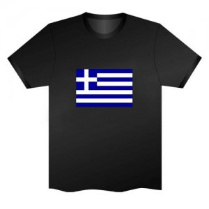 LED Electro Luminescence Flag Of Greece Funny Gadgets Rave Party Disco Light T Shirt Black 31801