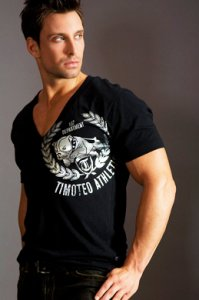 Timoteo Bulldog Reef Deep V-Neck T Shirt Black SM7188B