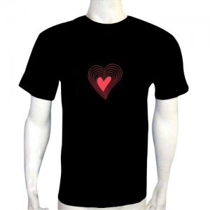 LED Electro Luminescence Loving Heart Printed Funny Gadgets Rave Party Disco Light T Shirt 12339