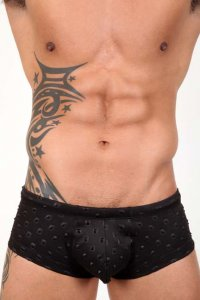 Pistol Pete Iconic Midcut Square Cut Trunk Swimwear Black MC505-808