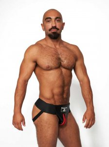 Mister B Leather Premium Jock Strap Underwear Black/Red 2311...