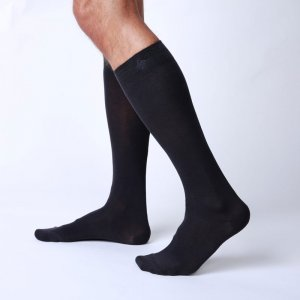 Bonne Cle Black & White High Knee Socks Dark Grey