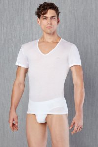 Doreanse V Neck Short Sleeved T Shirt White 2530