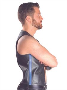 Mister B Leather Stripe Muscle Vest Blue 130710