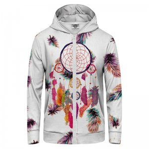 Mr. Gugu & Miss Go Feathers Dreamcatcher Unisex Zip Up Hoodie H-PC655
