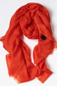 L'Homme Invisible Large Pashmina Ultrafine Scarf Orange