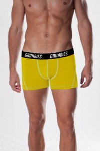 Grundies Muscle Boxer Brief Underwear Yellow/White