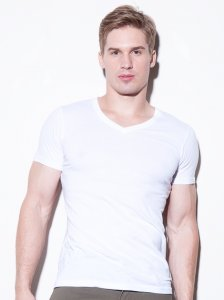 N2N Bodywear Basic V Neck Short Sleeved T Shirt White BC3