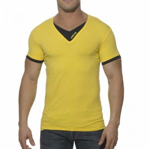 Addicted Double Effect V Neck Short Sleeved T Shirt Yellow/Black AD121