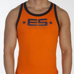 ES Collection Muscle Back Tank Top T Shirt Orange 202