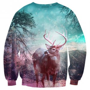 Mr. Gugu & Miss Go Hipster Deer Unisex Sweater S-PC416