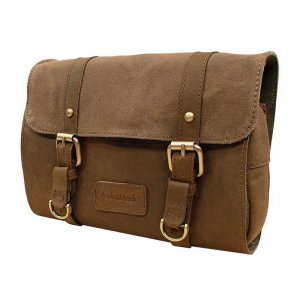 Asdrumark Leather & Canvas Hanging Wash Bag Brown AM087
