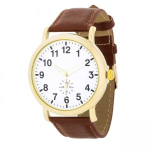J. Goodin Leather Strap Classic Wrist Watch Brown/Gold/White...