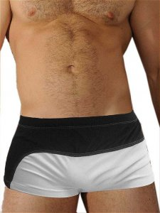 Good Boy Gone Bad Mel Square Cut Trunk Swimwear White/Black