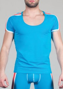 Geronimo Short Sleeved T Shirt Blue/White 1666T5-3