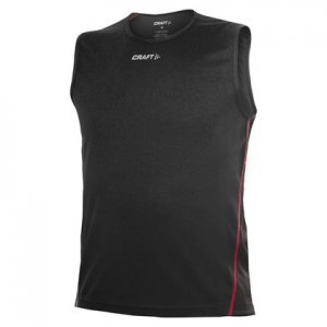 Craft Active Run Muscle Top T Shirt Black/Core Red 1901353