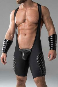 Maskulo Armored Codpiece Open Rear Full Thigh Pads Fetish Wr...