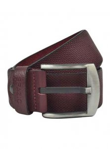 Spazio Patterned Belt Burgundy 3562