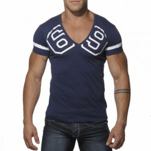 Addicted 69 V Neck Short Sleeved T Shirt Navy AD199