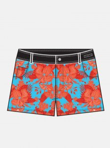 Barcode Berlin 013 Floral Square Cut Trunk Swimwear Orange/B...