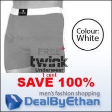 Twink Solid Long Boxer Brief FREE Men's Underwear White