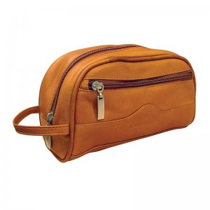 Asdrumark Leather Compact Wash Bag Tan AM090