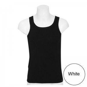 Minerva Tencel Vest Muscle Top T Shirt White 11076