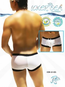 Icker Sea One Side Transparent Square Cut Trunk Swimwear White COB-12-101