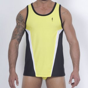 Leader Barcelona Enhancing Contour Sports Vest Tank Top T Shirt Yellow LBV1713