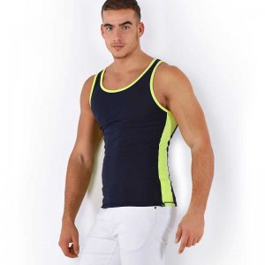 Roberto Lucca Two Tone Tank Top T Shirt Deep Blue/Neon Yellow 80002-71800