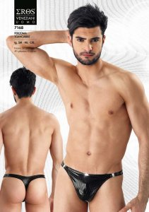 Eros Veneziani Stripe Detachable Thong Underwear Black 7168