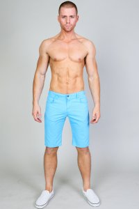 Timoteo Hermosa Knee Length Shorts Sky Blue 1231
