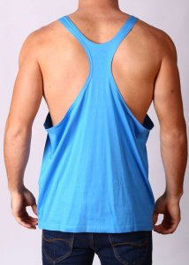 Gym Clothing Y Back Loose Weight Training Stringer Tank Top T Shirt Blue