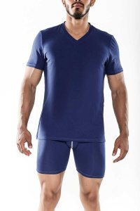 MaleBasics Everyday Prima V Neck Short Sleeved T Shirt Carbon MB104