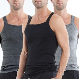 Papi [3 Pack] Premium Cotton Square Neck Tank Top T Shirt Black+Grey+Light Grey 559102-962
