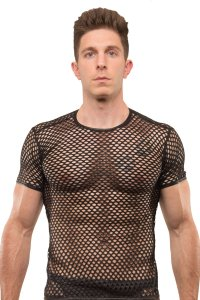 Tartarus Fishnet Crew Neck Short Sleeved T Shirt Black TRU-226