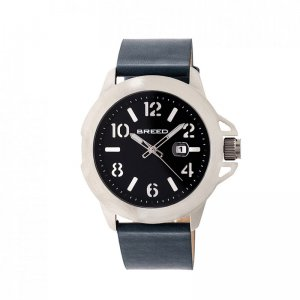Breed Bryant Leather-Band Watch w/Date - Silver/Black BRD710...