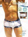 Icker Sea USA Trim Square Cut Trunk Swimwear White COB-12-117